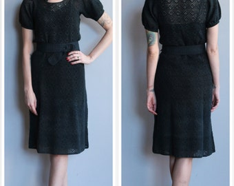 1930s Dress // Dark Sky Crochet Dress // vintage 30s crochet dress