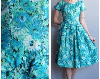 1950s Dress // Watercolor Silk Party Dress // vintage 50s dress