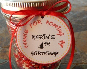 """Mickey or Minnie Mouse Thanks for Popping By Birthday Favor Tags - For Mason Jar and Party Favors - (50) 2"""" Custom Disney Printed Tags"""