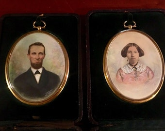 Antique Miniature Painting Photo Portraits in Leather Presentation Cases - Signed