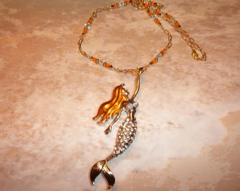 Golden And Crystal Mermaid Necklace