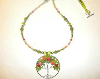 Rose Tree Of life Pendant Necklace
