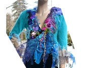 Reserved First Part Payment TURQUOISE CRAZY GIRL Soft Angora Jacket Lots of Silk Velvet Peacock Colors Magenta Fairy Tattered Boho