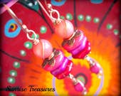 NEW Colorful Stacked Bead Dangle Earrings, Red and Hot Pink Earrings, Wire Wrapped Copper Earrings, Pink Coral Earrings