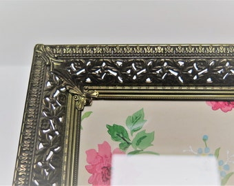 Ornate 8 x 10 Filigree Antiqued Brass Picture Frame  Easel Back for special photos
