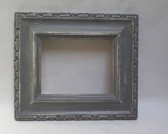 Mid Century Modern Chunky Carved Wood PIcture Frame Distressed Painted Dark Gray Open Picture Frame Beach Cottage Chic