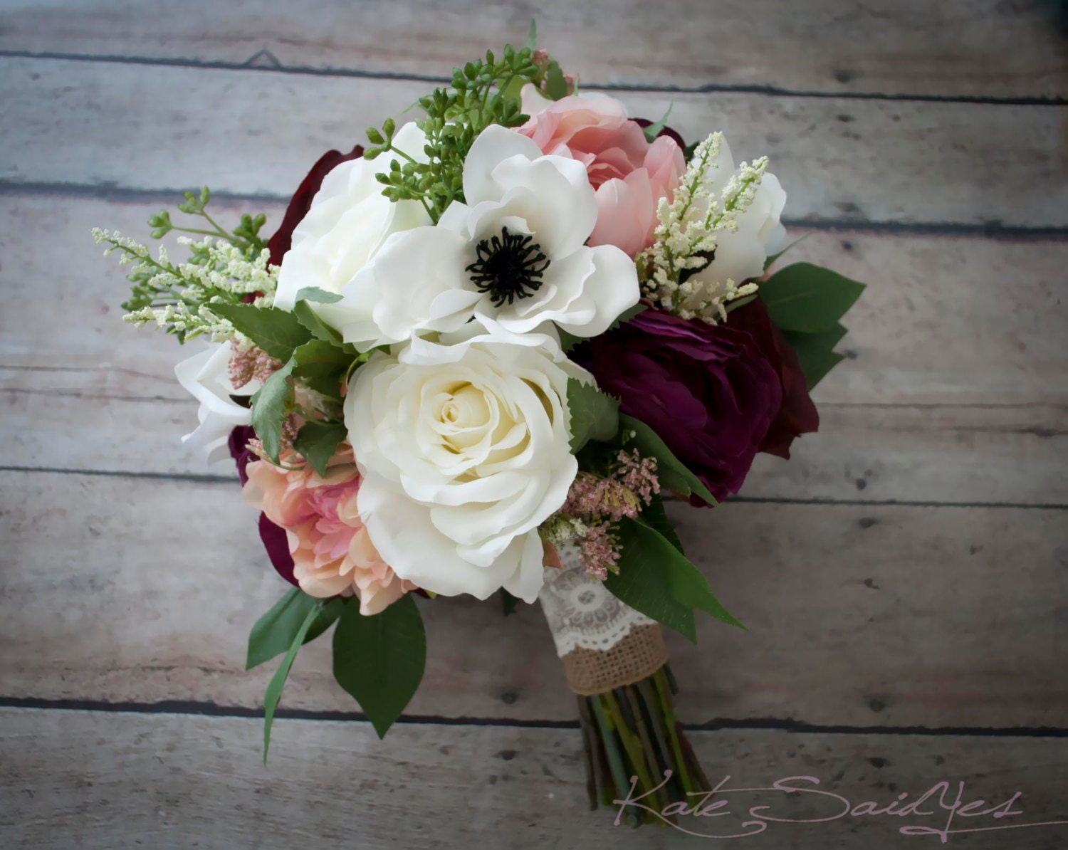 Rustic Bouquet Blush Ivory And Plum Garden Rose Anemone And