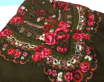 Vintage German Large Scarf or Shawl or Wrap Wool Block Printed with Tatting and Fringe Flowers