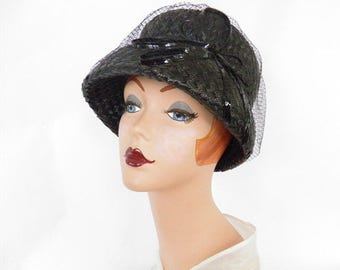 1960s bucket hat, vintage black straw