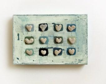 Unique Christmas Gift  - House Blessings - Hearts - Pebbles Art - Beach Heart Stones - Unique Wall Decoration Stones -  Medbeachstones - L6
