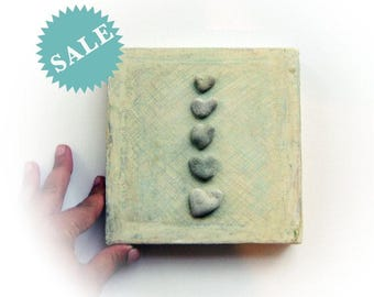 Pebble Art - Heart Shaped Rocks Art - Genuine Beach Rocks - Unique Mother's Day Gift -  genuine Heart shaped Beach stones rocks - S19
