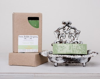 Olive Oil Soap, Oatmeal Mint, made with organic oils and essential oils, by greenbubblegorgeous
