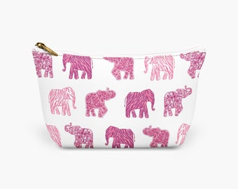 Pink Elephant Makeup bag, Safari Cosmetic Bag, Preppy Toiletry Bag, Holiday Make Up Bag