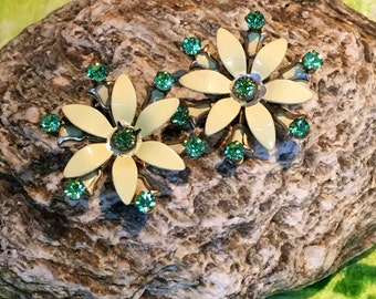 Retro Cool Flower with green rhinestones  clip earrings