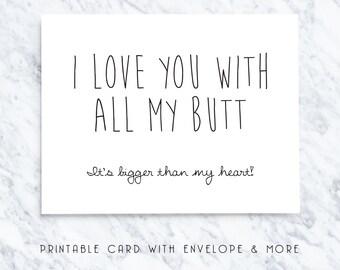 boyfriend card, funny boyfriend card, birthday boyfriend card, love butt card, birthday card, printable card, funny card