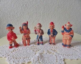 Howdy Doody Tee Vee Puppet Plastic Figures from the 1950s. Set of Five.