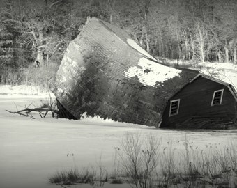 Barn Sinking into Pond