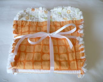 Baby Boy or Girl Burp Cloth Set of 3 - Modern Baby Prints in Bright Citrus Orange Lime and Gray Chenille Rag Quilted
