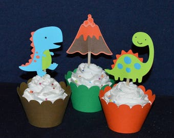 12 Dinosaur Cupcake Topper Dinosaur Baby Shower Pick Food Pick Dinosaur Birthday Party Pick Dinomite Birthday Cake Decoration READY TO SHIP