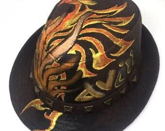 Phoenix Fire Bird Handpainted Brown Stud Wool Felted Fedora