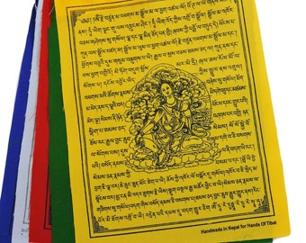 Handmade Green Tara Prayer Flags set of 10 flags