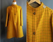 HOLD for redheadgirl Bonnie Cashin 1960s yellow trapeze coat 60s iconic brass turnlock closures toggles mod coat 1960s bonnie cashin coat