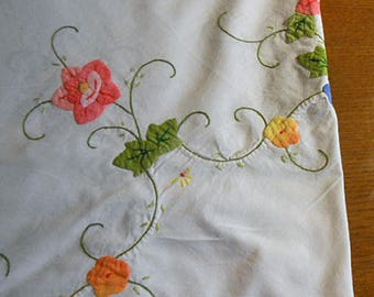 Applique Dainty ROSES TABLECLOTH Spring Blooms Green Leaves Embroidered Trailing Vines Orange Edge 64 by 64 Oval Ez Care Cotton Table Cover