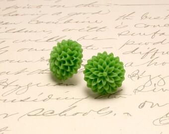 Pea Green Dahlia Flower Earrings. Green Mum Floral Post Stud Earrings.