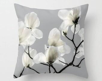 Pillow Cover, Magnolia, Farmhouse, Decorative Throw Pillow Cover, White, Gray, 16x16, 18x18, 20x20