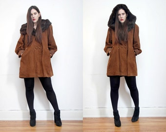 FREE SHIPPING Vintage Real Fox Collar Real Suede Leather Swing Cape Parka Coat