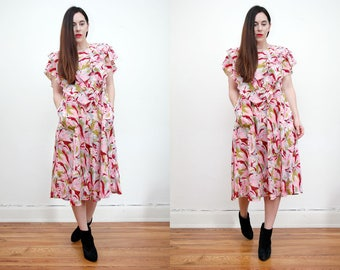 Vintage Floral Garden Tea Wedding Frill Dress Grunge Revival 80s Dress