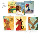 Unique Set of 6 Blank Cards for Women of Colour, for Mum, African Art, Black Woman, African American Cards, Caribbean, Multicultural Art