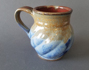 Diagonal Swirl Coffee Mug in Speckled Blue Tan Brown and Iron Red