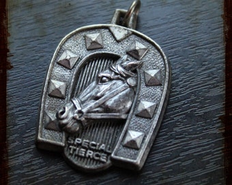 Vintage French Equestrian Themed Horse silver Medal - Horseshoe hippic horse race souvenir medal from France
