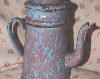 Antique French enameled COFFEE POT Marbled PINK & Pale Blue