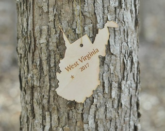 Natural Wood West Virginia State Ornament WITH 2017