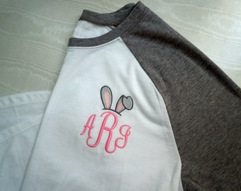 Personalized Bunny Monogrammed Raglan Shirt Baseball Shirt Women's 3/4 sleeve Personalized many colors to choose from PRE-ORDER