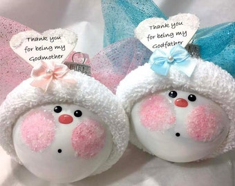 Baptism Gifts Christmas Ornaments GODmother GODfather Choice Angel Christening Thank You For Being My... Personalized - F - BackRoom