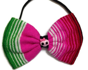 Multi-colored Mexican Blanket Serape Bow With Pink Skull On Elstic Headband