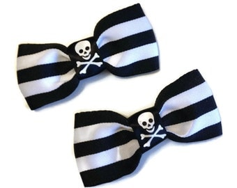 Black and White Stripped Psychobilly Punk Gothabilly  Bows with Skulls