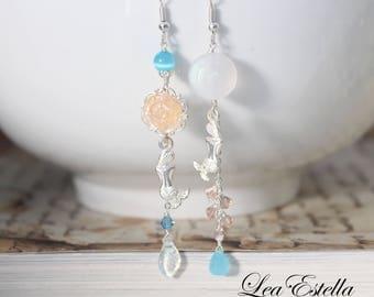 Blue Mermaid Earrings, Asymmetrical earrings, Ocean Inspired earrings, Peach flower earrings, Floral Mismatched Earrings - Dreaming Mermaid