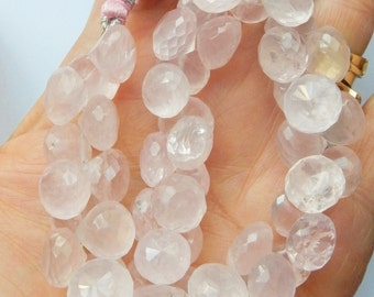 6pcs Rose Quartz, faceted onion briolettes (10-11mm), pink quartz onion briolette