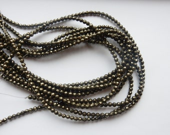 4mm Pyrite faceted round beads , full strand (16 inches)