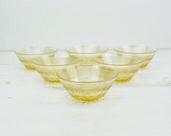 Vintage Amber Glass Bowls - Yellow - Depression - Serving - Dish - Glassware - Sorbet - Pudding - Sweet - Kitchenware