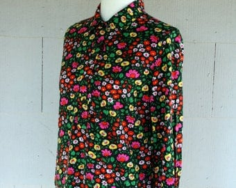 Vintage Shirt / 60's Floral Tunic / Psychedelic Hippie Blouse