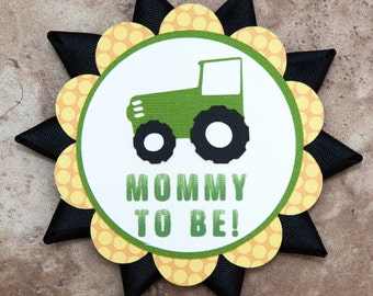 Tractor name tag Button Pin- yellow green- for Baby Shower or Birthday Party
