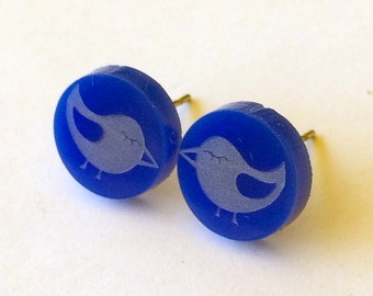 Little Bird Laser Cut Earrings - acrylic, perspex, plastic, retro, blue
