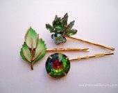 Vintage earrings hair pins - Green aurora borealis givre cluster rhinestones rivoli crystals enamel leaf jeweled unique fun hair accessories