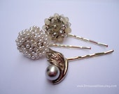 Vintage earring hair grips - White pearls silver beaded cluster grey slate crystal rhinestones jeweled embellish decorative hair accessories