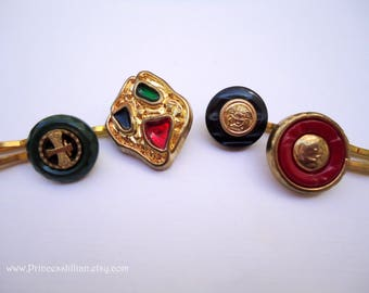 Vintage buttons hair slides - Christmas holiday red green blue gold enamel emblem fancy girl jeweled embellish decorative hair accessories